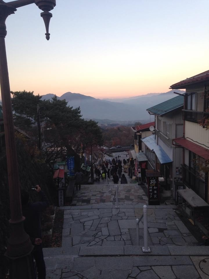<p>Sunset on the Steps of Ikaho Town</p>