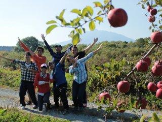 Đây là những người đã giúp chúng tôi thu hoạch táo. Bạn có thể thấy Núi Iwaki ở phía sau