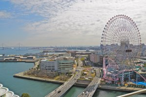 A breathtaking view of Port of Yokohama and the Cosmo Clock from our balcony at Yokohama Bay Hotel Tokyu