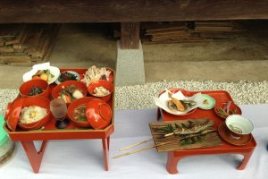 A special set course meal served inShunran no Sato