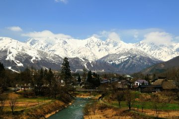 <p>Three Hakuba mountains seen from Oide Park. I expected to see the cherry blossoms along the river in full bloom but I was too early.</p>