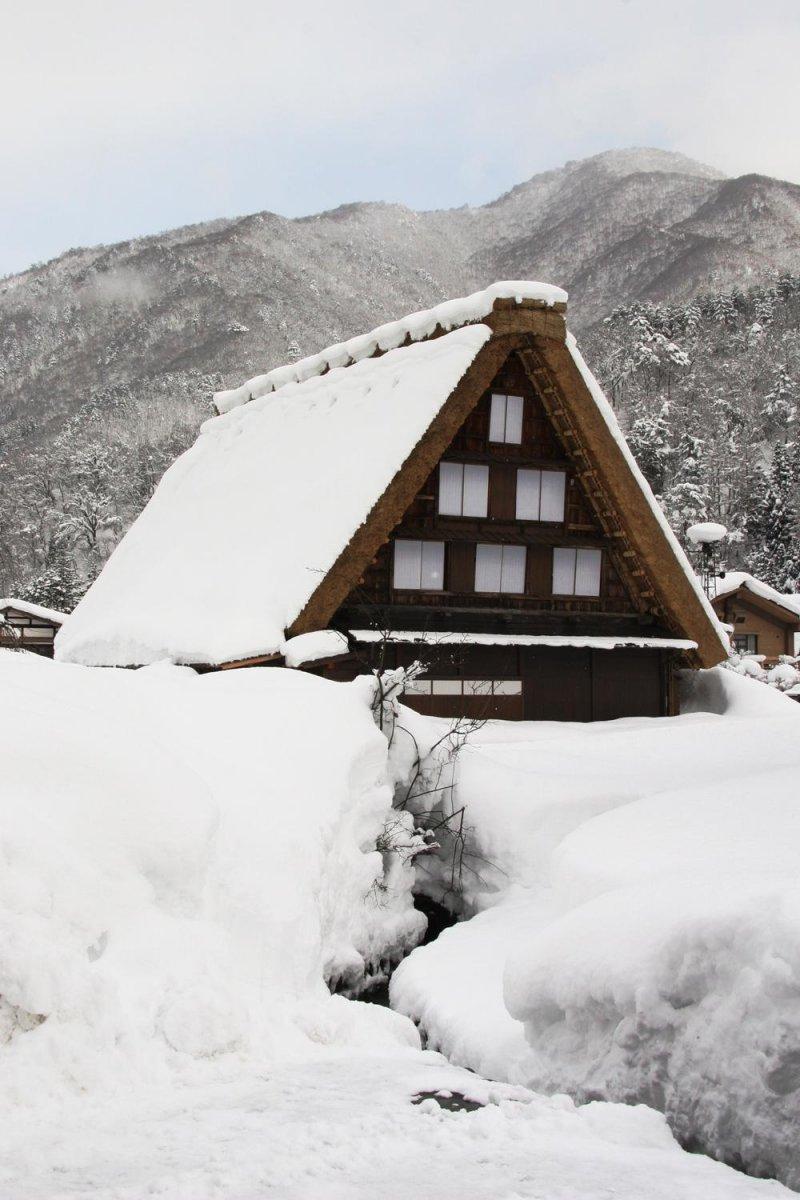 <p>Деревня хорошо известна своими 114 домами, построенных в архитектурном стиле, известном как Гассё-Зукури.&nbsp;Эти дома были разработаны и построены так, чтобы выдерживать сильные снегопады зимой.</p>