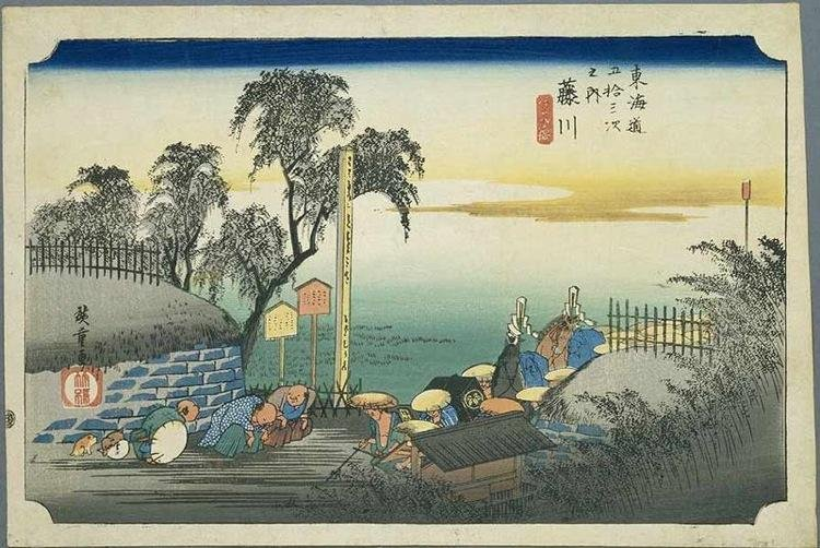 The 37th stop along the Tokaido as depicted by Hiroshige.