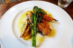 Tasty chicken with fresh vegetables