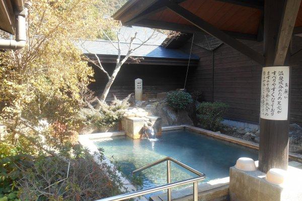 One of the outdoor bath, rotemburo, of the Subaru Hotel