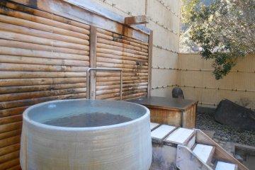 <p>Individual baths outside</p>