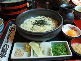 Kama-Bukkake Udon; Freshly boiled udon noodles; pour sauce on it before eating