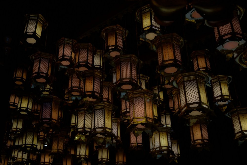 A lot of lanterns hang from the ceiling of Hondo