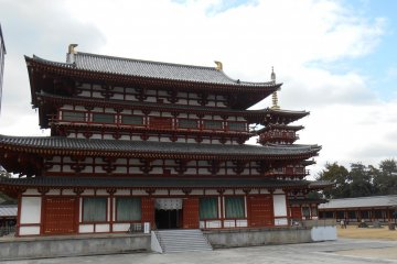<p>The main Hall Kondo, and the west pagoda. The east pagoda is for the moment under construction so not visible.</p>
