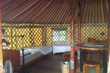 <p>The interior of the yurt; artwork in its own right</p>