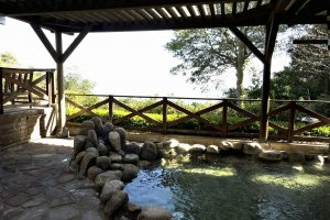 One of the outdoor baths at the Ijika Daiichi Hotel Kagura