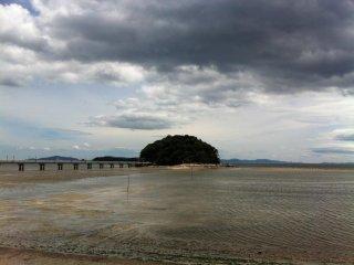 Takeshima cạnh bờ biển Aichi. Đi mò nghêu sò dưới dòng nước cạn