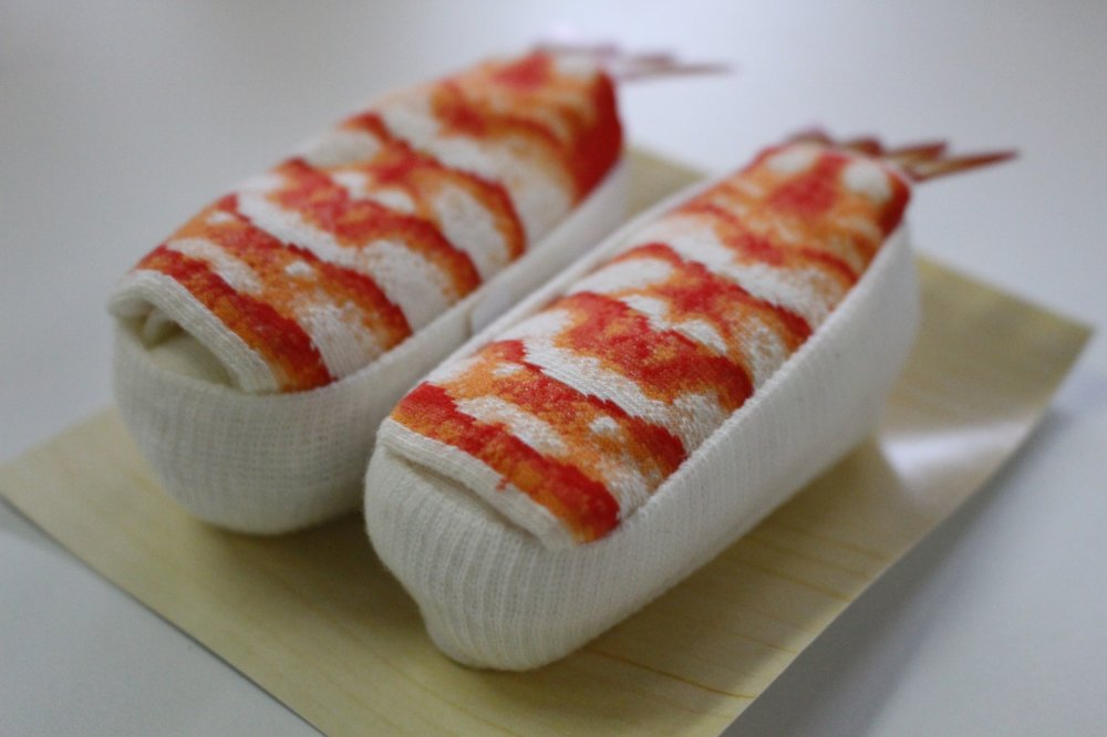 Shrimp Sushi Socks - they almost look like real sushi pieces!