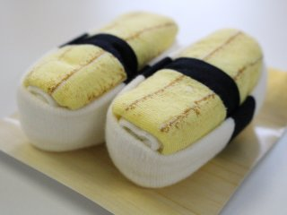 A close-up of the egg Sushi Socks