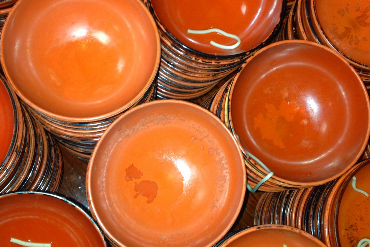 Stacks of empty bowls will taunt you as you eat.