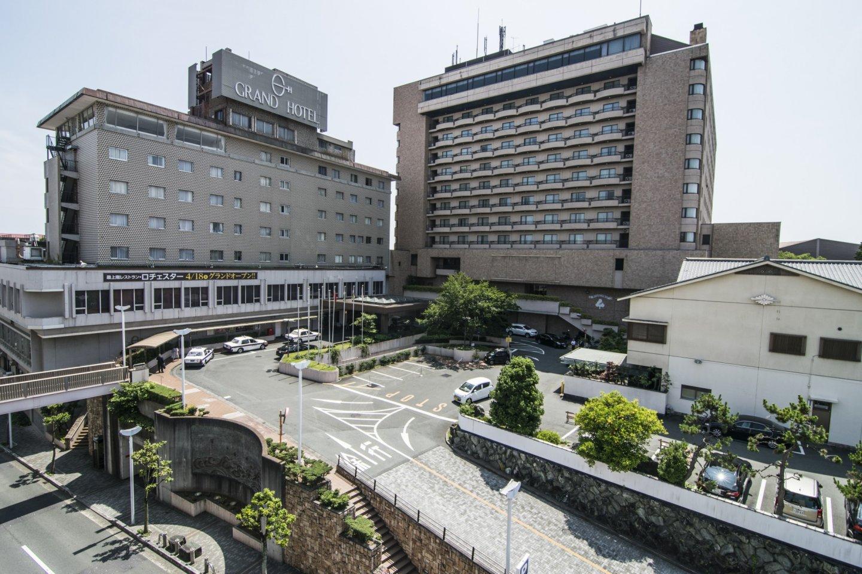 The front facade of Grand Hotel Hamamatsu.