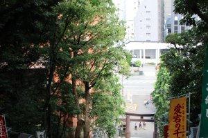 L'arrivée au sanctuaire se mérite, puisque l'Atago Jinja est accessible après avoir gravi un escalier de 86 marches