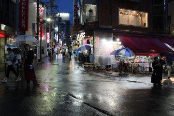 우산, 색깔, 반짝이는 거리