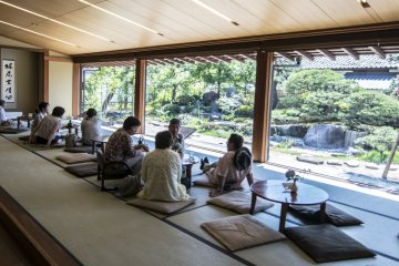 <p>Kiharu Kissa is set within the Matsue History Museum, and here you can relax on tatami, enjoying wagashi and the beautiful stone garden outside.</p>