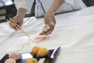 <p>The result of pressing the dough through the sieve - the pieces that are used to create the &#39;Ajisai&#39;, Wisteria.</p>