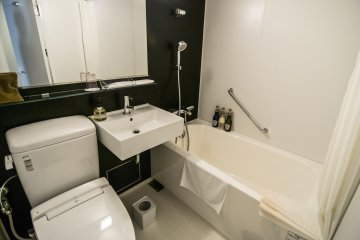 A clean and stylish bathroom awaits you at the end of everyday.