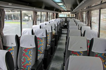 <p>Inside the seats are comfortable and the bus is clean</p>