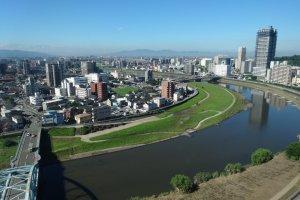 View of Kumamoto's Shirakawa river from the rooms of the ANA New Sky Hotel
