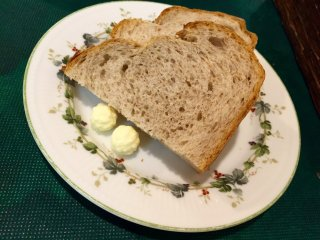 Traditional rye bread and butter