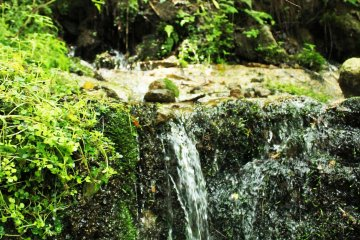<p>The water pours out from within the ground, not its surface</p>