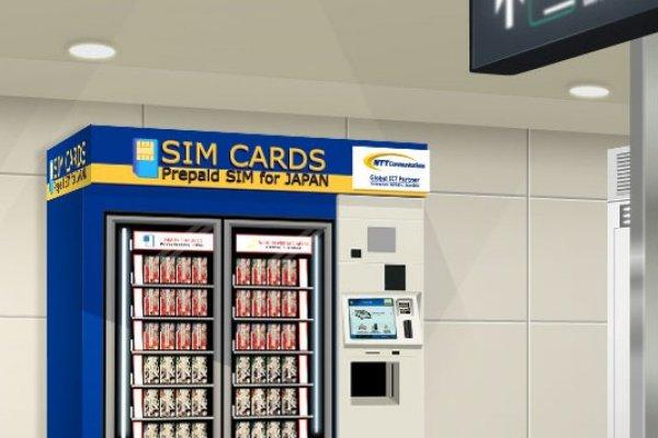 Mesin Penjual kartu SIM otomatis tersedia di dua terminal Bandara Narita