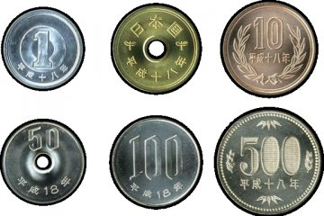 Japanese yen coins (clockwise from top left): 1 yen, 5 yen, 10 yen, 500 yen, 100 yen, 50 yen