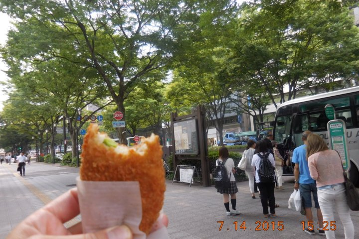 Sampling Croquette at Asaichi