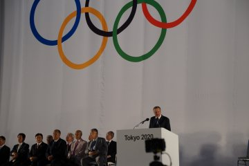 Vice President of IOC, John Coates, addresses the audience and city of Tokyo in his speech.