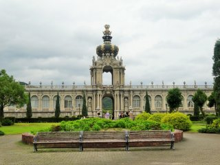 The building is based on the original Zwinger Palace in Dresden, Germany