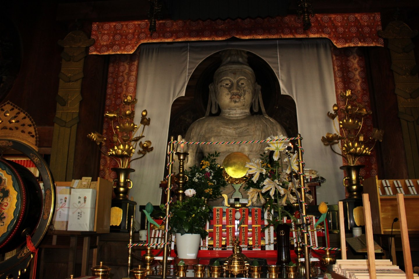 The Nyoirin Kannon Bosatsu (Wish Granting Buddha) of Okadera. It's made of clay and is nearly 1300 years old (the oldest clay Buddha in Japan). The face and body of the Buddha is sculpted to show a Buddha of Indian origin indicating where the practices and influences of the artists and Okadera were sourced.