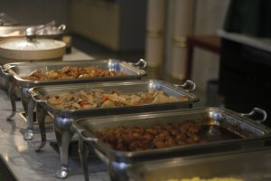 Various foods in morning buffet.