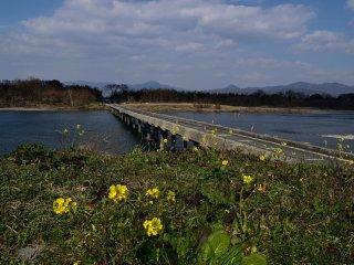 Para contrariar a força do rio, foi projetada a ponte contra inundações