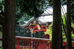 Сквозь деревья виден красный зал храма