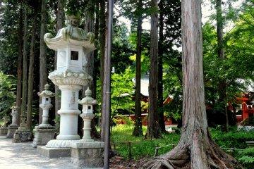 Каменные фонари среди деревьев
