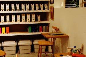 Le coin café, où boire et travailler tranquillement