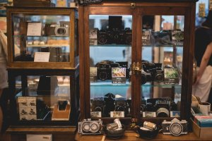 Cabinet of perfect condition second hand cameras
