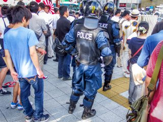 In amongst these crowds was a large police presence, the largest I have seen to date since my time in Japan!
