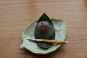 This is kudzu manju with red bean paste in the core