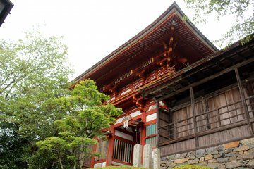 <p>Looking up at the Sakuramon Gate</p>