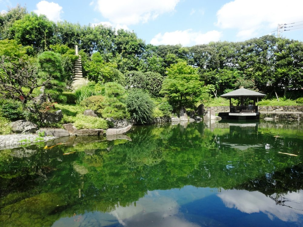 A view of the gazebo at the Mejiro Garden