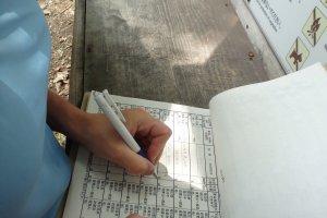 avant de commencer, il faut s'enregistrer sur le cahier de trek, à disposition au début de la traversée;