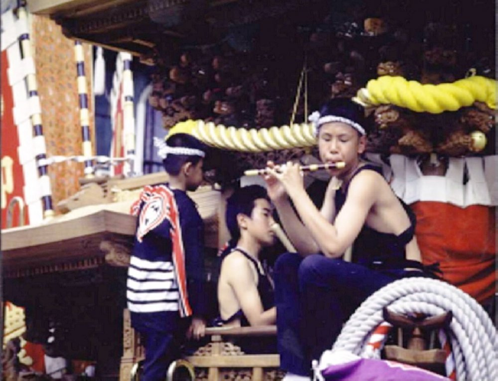 Boys with flutes at the Kishiwada Danjiri Festival, which is on the weekend before the third September each year.