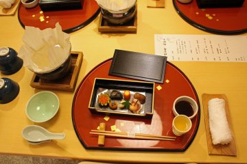 <p>The first course of a Japanese kaiseki meal at the Sugi no Yu&#39;s restaurant</p>