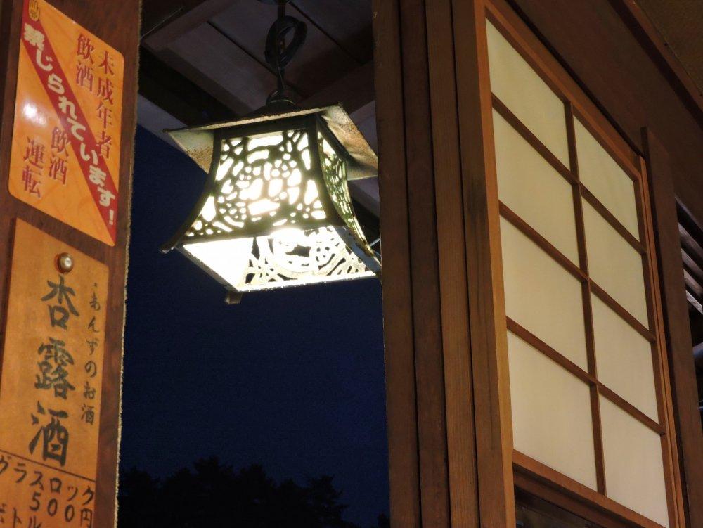Lantern just outside the window