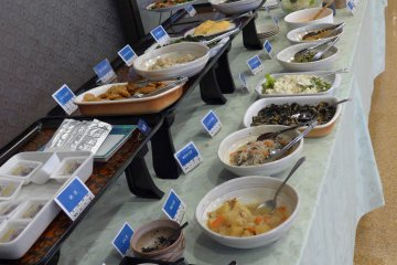 <p>There is a large buffet spread for breakfast.</p>